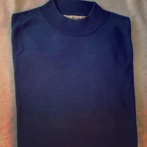 Pronto Uomo Blue Mock Neck Sweater